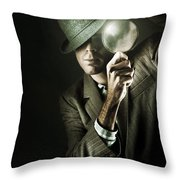 Vintage Undercover Spy On Dark Background Throw Pillow