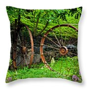Vintage Wagon Wheel Gate Throw Pillow