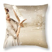 Vintage Woman Dreaming Of A Europe Travel Escape Throw Pillow