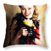 Vintage Woman Eating Popcorn At Movie Premiere Throw Pillow