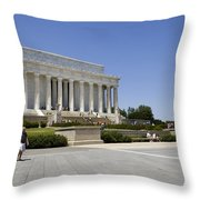 Visitors At The Lincoln Memorial Throw Pillow