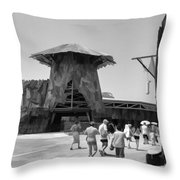 Visitors Heading Towards The Waterworld Attraction Throw Pillow