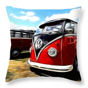 Vw Micro Bus Throw Pillow