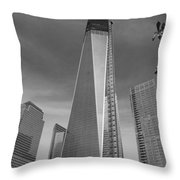 1 W T C And Museum In Black And White  Throw Pillow