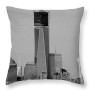 1 W T C Helos And Boats In Black And White Throw Pillow