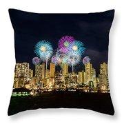 Waikiki Fireworks Celebration 11 Throw Pillow