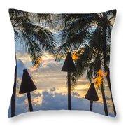 Waikiki Sunset Torches Throw Pillow