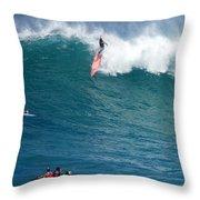 Waimea Bay Takeoff Throw Pillow