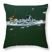 War Ship In New York Harbor, New York Throw Pillow