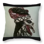Warrior Rooster Throw Pillow by Suzanne Berthier