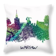 Warsaw City Skyline Throw Pillow