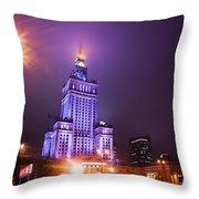 Warsaw Poland Downtown Skyline At Night Throw Pillow