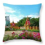 Wat Tha Sung Temple In Uthaithani-thailand Throw Pillow