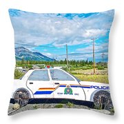 Watch Out For The Rcmp Near Destruction Bay In Yukon-canada Throw Pillow