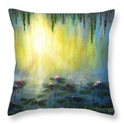 Water Lilies At Sunrise Throw Pillow