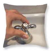 Water Tap Throw Pillow