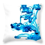 Water Trails - Two Blue Drops - Square Version Throw Pillow