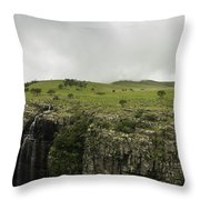 Waterfall Flowing Over The Edge Throw Pillow