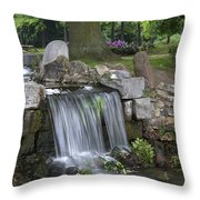 waterfall in park Klarenbeek in Arnhem Netherlands Throw Pillow