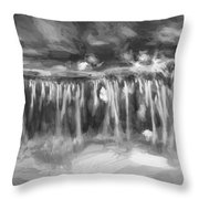 Waterfalls Childs National Park Painted Bw   Throw Pillow