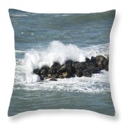 Wave On The Rocks Throw Pillow