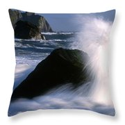 Waves Breaking On Shore Throw Pillow