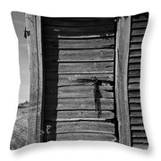 Weathered Door With Hanging Chain Throw Pillow