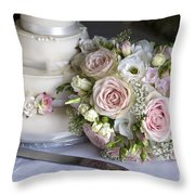 Wedding Bouquet And Cake Throw Pillow