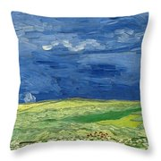Wheatfield Under Thunderclouds Throw Pillow