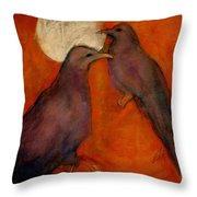 When Crow Made The Moon Throw Pillow by Johanna Elik