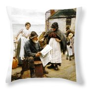 When The Boats Are Away Throw Pillow by Walter Langley