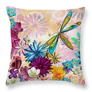 Whimsical Floral Flowers Dragonfly Art Colorful Uplifting Painting By Megan Duncanson Throw Pillow