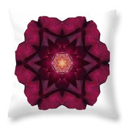 Beach Rose I Flower Mandala White Throw Pillow