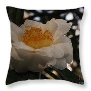 White Camellia Throw Pillow