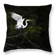 White Egret's Takeoff Throw Pillow