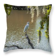 White Heron In Magnolia Cemetery Throw Pillow