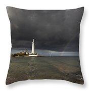 White Lighthouse Illuminated By Throw Pillow