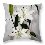 White Lily Spray Throw Pillow