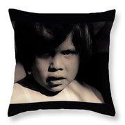 White Mountain Apache Girl Rodeo White River Arizona 1969-1984 Throw Pillow