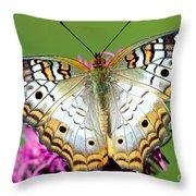 White Peacock Butterfly Anartia Throw Pillow