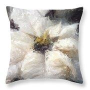 White Poinsettias Christmas Card Throw Pillow