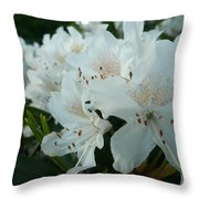 White Rhododendron Throw Pillow