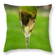 White Wine On Patio Ledge Throw Pillow