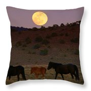 Wild Horse Moon  Throw Pillow by Jeanne  Bencich-Nations