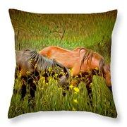 Wild Horses In California Series 2 Throw Pillow