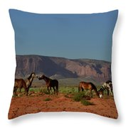 Wild Horses In Monument Valley Throw Pillow