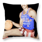 Wilt Chamberlain As A Member Of The Harlem Globetrotters  Throw Pillow