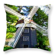 Windmill At Hofstra Throw Pillow