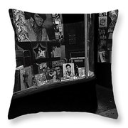 Window Display Night Of Elvis Presley's Death Recordland Portland Maine 1977 Throw Pillow