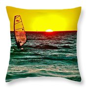 Windsurfer At Sunset On Lake Michigan From Empire-michigan  Throw Pillow